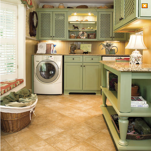 Laundry Green Cabinetry