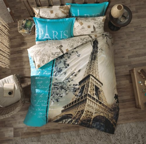 100% Cotton 6pcs Paris in Autumn Full Double Size Duvet Cover Set Eiffel Theme Bedding Linens