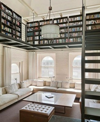 Create a lovely home library in a double level room
