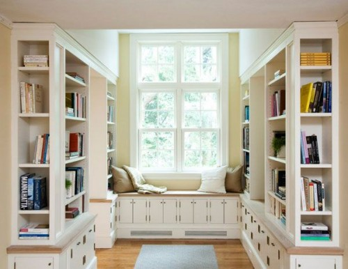 DIY your own window seat and built-in bookshelves