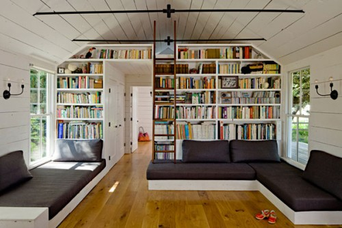 Partition with a huge bookcase