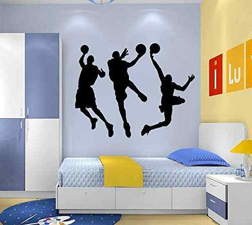 """Amaonm 31.5"""" x 53.1"""" Removable DIY Vinyl Three Basketball Players Slam Dunk Silhouette Wall Decals Spoting Basketball Duck Layup Sporter Wall Sticker for Kids room Boys Bedroom Classroom (Black)"""