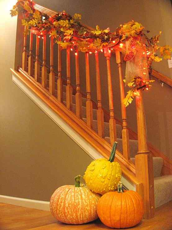Falling for Fall stair railing idea