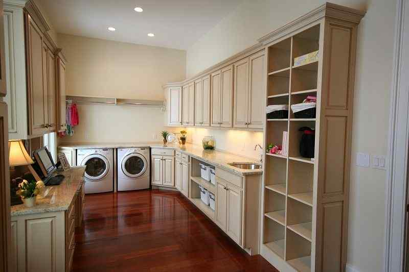 laundry room shelving design with wooden floor