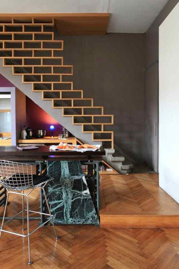 stair railing ideascreated from wooden brick pattern