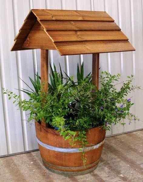 a well-shaped pot flower garden idea