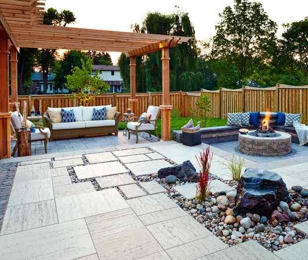 Backyard Patio with Tiles