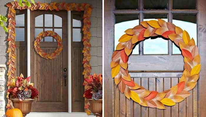 Leaves Wreath Door Decoration Ideas