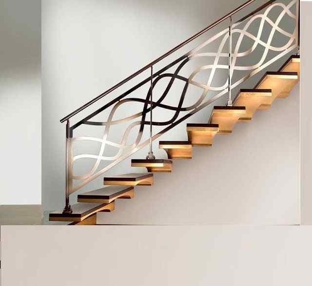 stair railing using waves for the banister