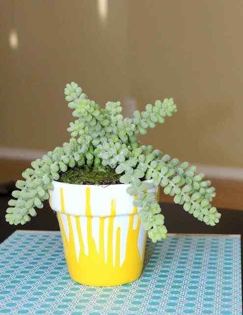 Paint and Drizzle flower pot idea