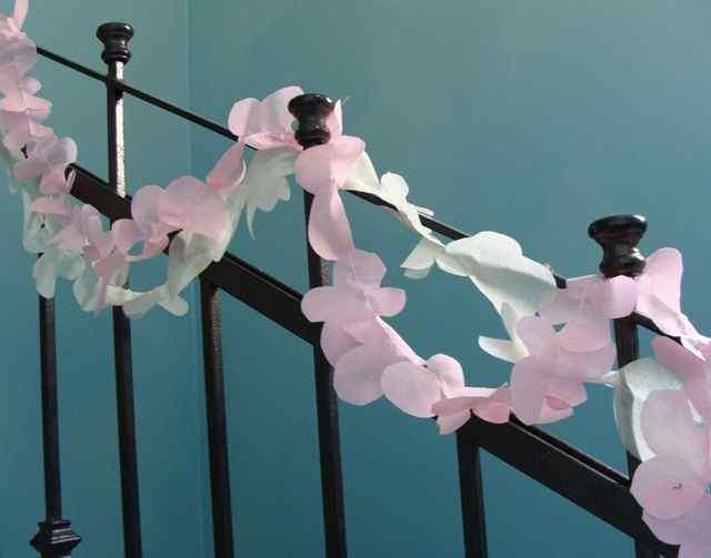 Basic Floral Garland stair railing idea