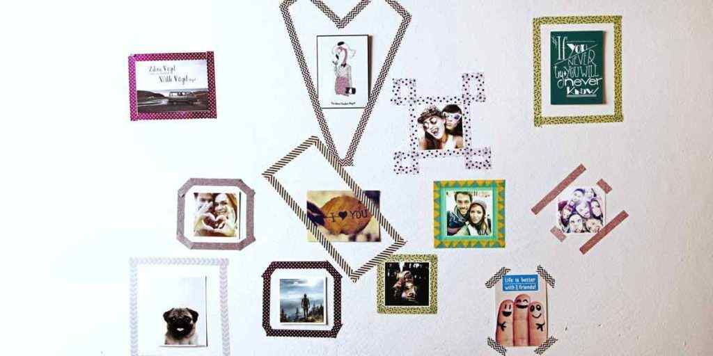 An easy way to hang pictures is using washi tape